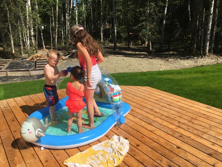 JUNE kids in kiddie pool