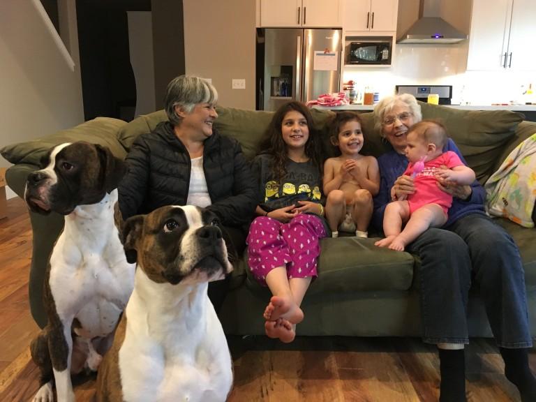 MAY amparo grandma velda with girls and dogs