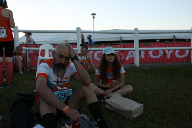 Completely exhausted and grateful after the finish