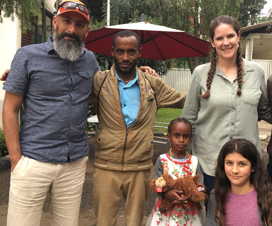The Martinez family with one of our sponsored girls and her Dad at the World Vision Ethiopia Head Quarters in Addis Ababa
